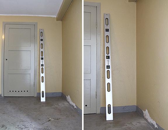 Källaren: ny innervägg i hallen