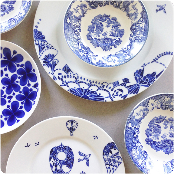 Blåvita mönstermixar