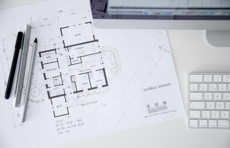 Skissförslag / ritning 2-plans bostadshus