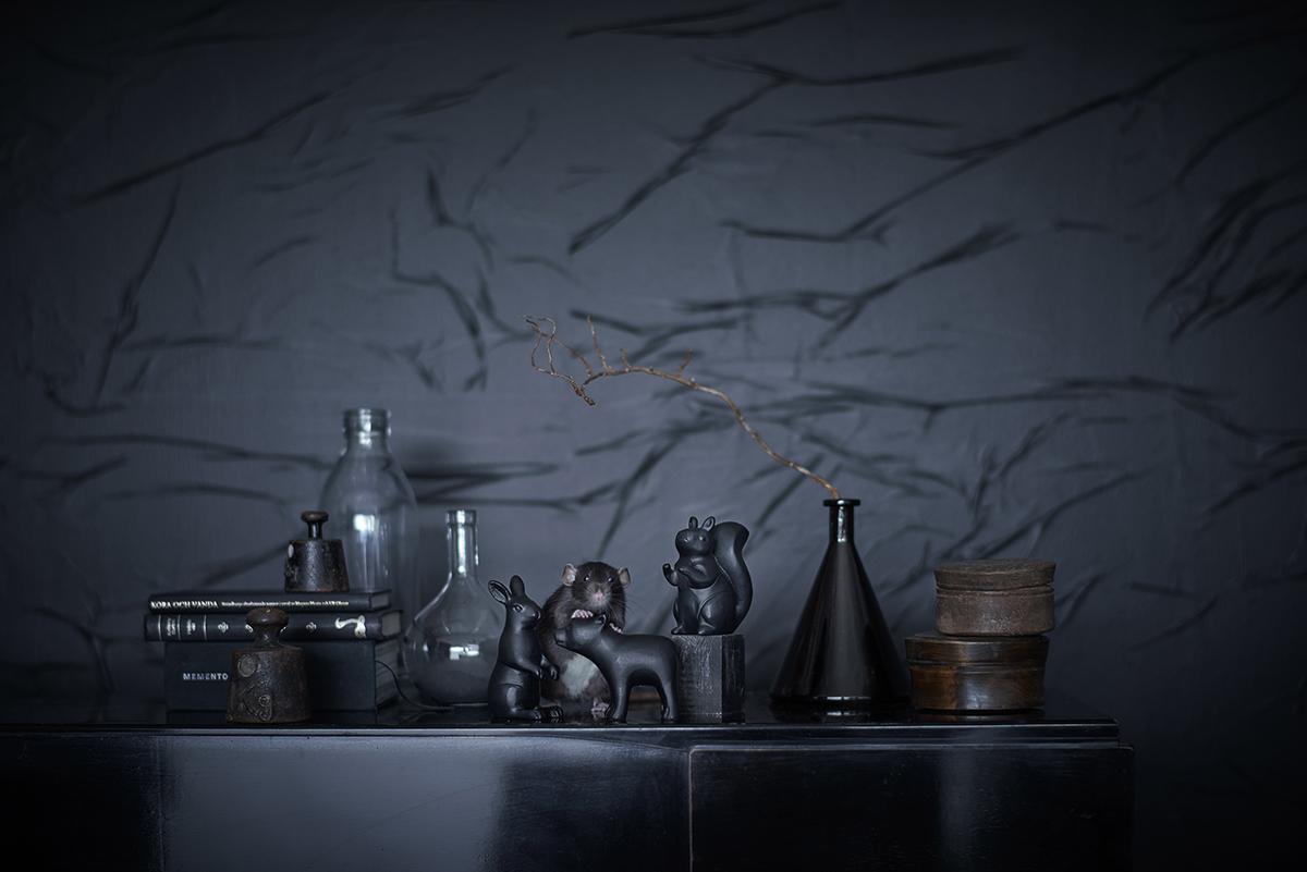 IKEA RÖRD svarta dekorationsdjur