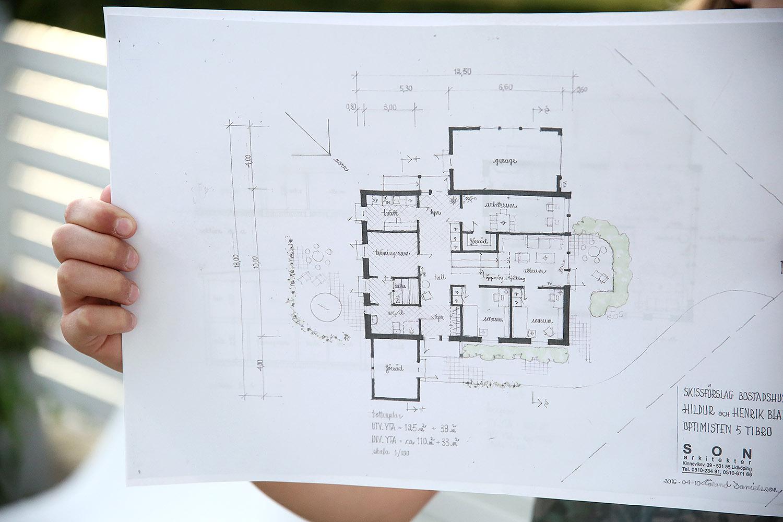 Villa Gläntan: Ritning version 1 plan 1